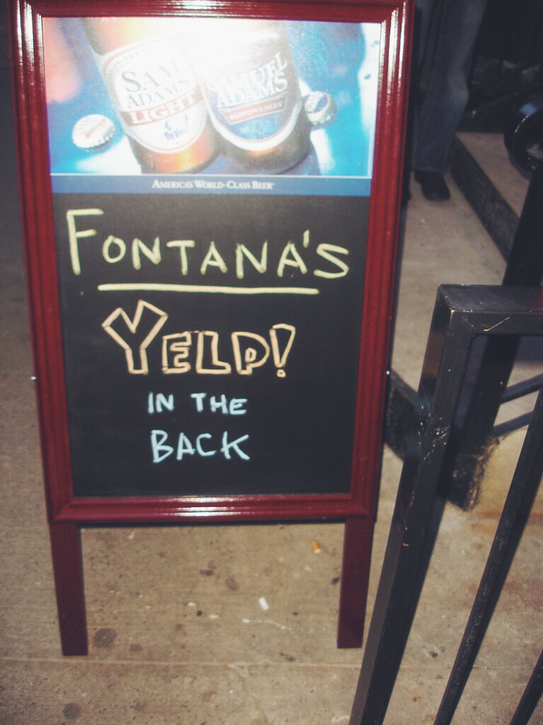 A sign from the very first Yelp Elite event in NYC at Fontana's