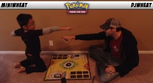 Marcus and his son playing Pokemon