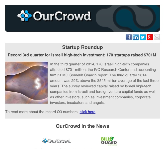 The OurCrowd Newsletter
