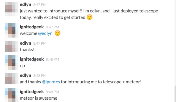 A welcome into the Telescope Slack community